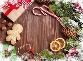 fond en bois de Noël photo