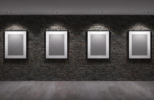 Cadre photo sur l'ancien mur de briques avec sol en béton