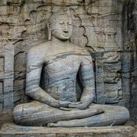 Bouddha assis, gal vihara, sri lanka photo
