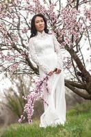 fleurs d'amandier - fille vietnamienne à ao dai photo
