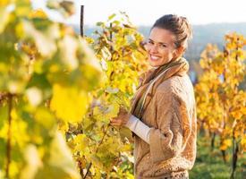 portrait, de, heureux, jeune femme, dans, automne, vignoble