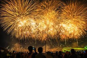 Feu d'artifice lumineux de célébration dans un ciel nocturne