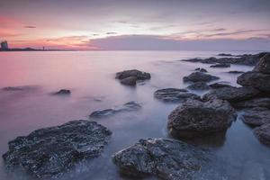 lisser la mer avec le ciel le soir photo