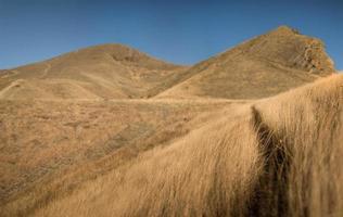 collines sèches et ciel bleu photo