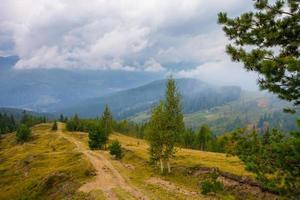 route vers les montagnes avec un ciel bleu dans les Carpates photo