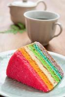 Délicieux gâteau arc-en-ciel sur assiette sur table photo