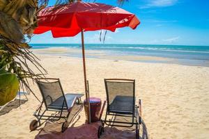 mer turquoise, transats, sable blanc et noix de coco photo