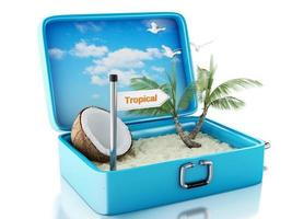 Valise de voyage de plage paradisiaque 3D. fond blanc isolé