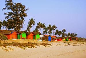 bungalows sur une plage de palmiers