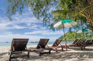 mer turquoise, transats, sable blanc et palmiers, soleil photo