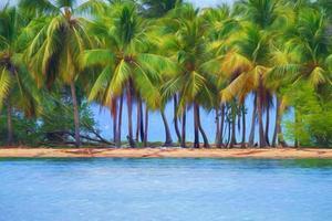 art numérique, effet de peinture, palmier, plage à cayo levantado