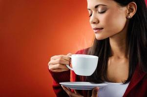 femme de café chaud photo