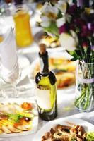 restaurant. banquet de mariage, table servie. photo