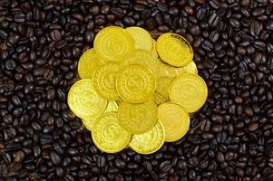 pièces d'or placées sur des grains de café