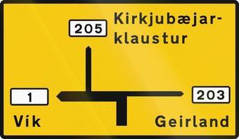 Carte de destination en dehors de la zone de la capitale en Islande