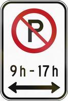 pas de stationnement à l'heure spécifiée au canada