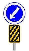 flèche sur panneau de signalisation bleu, bande diagonale jaune et noire