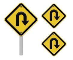Panneau routier à demi-tour - panneau de signalisation jaune avec symbole de virage
