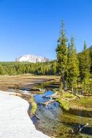 neige sur le mont lassen dans le parc national photo