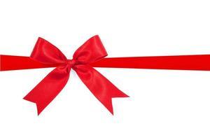 noeud de ruban rouge sur fond blanc photo