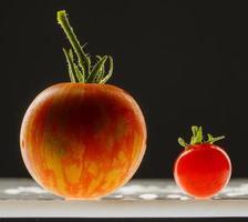 tomates en gouttes d'eau sur fond noir