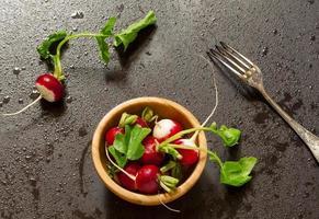 concept de nourriture végétalienne - radis avec des gouttes d'eau photo