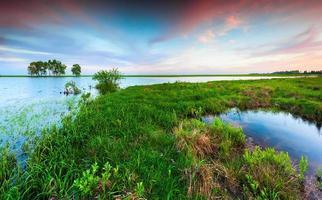 paysage printanier coloré sur le lac