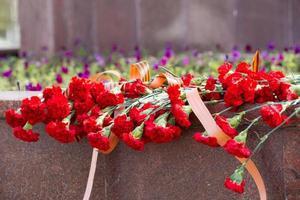de nombreux œillets rouges avec st. George Ribbon sur Memorial photo