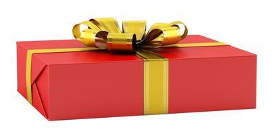 boîte cadeau rouge avec ruban doré isolé sur fond blanc photo