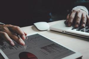 Graphiques commerciaux sur une tablette