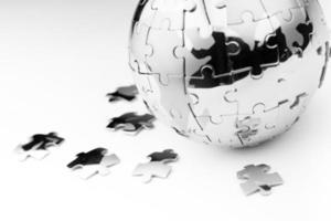 concept d'entreprise de stratégie et de solution globale, puzzle