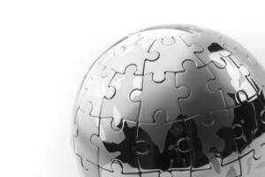 concept d'entreprise de stratégie et de solution globale, puzzle photo