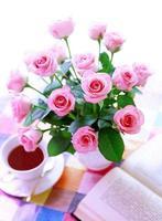 rose et livre photo