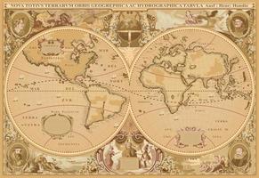 vecteur de carte du monde de style antique