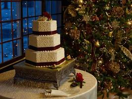 gâteau de mariage avec arbre de noël photo