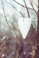 coeur blanc vintage accroché à l'arbre photo
