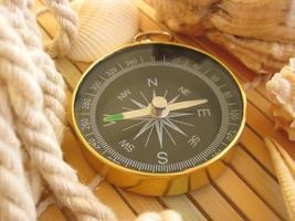 boussole dorée sur surface en bois photo