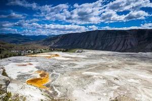 Sources chaudes de mammouth, parc national de Yellowstone photo