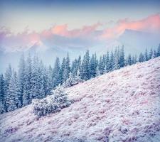 lever du soleil d'hiver coloré dans les montagnes des Carpates.