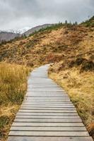 Passerelle en bois à flanc de colline en Ecosse