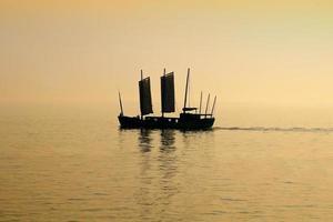 coucher de soleil sur le lac tai