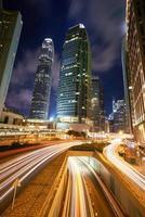 light trails of hong kong night cityscape