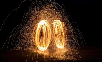 anneau de feu d'étincelles rougeoyantes chaudes