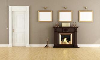 salon classique avec cheminée photo