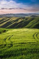belle vue sur le sentier de campagne au coucher du soleil en toscane