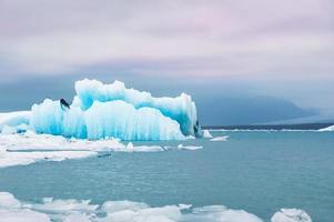 Icebergs bleus dans la lagune glaciaire de Jokulsarlon
