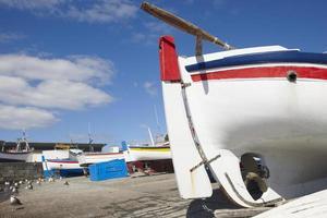 bateaux colorés sur un port. île de sao miguel. Açores. le Portugal