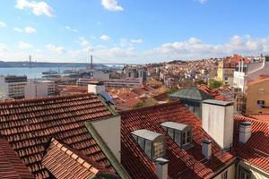 Pont 25 de abril et vue sur la ville de Lisbonne photo