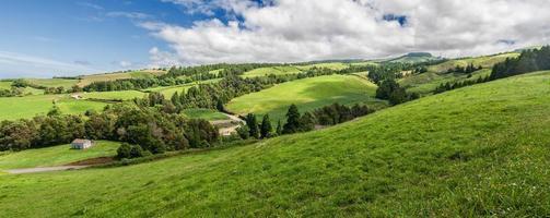 Panorama de paysage typique à sao miguel, îles des Açores