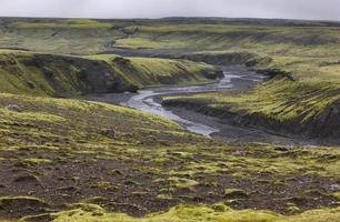 Islande. zone sud. lakagigar. paysage volcanique.